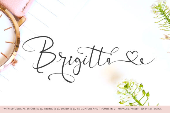 Print on Demand: Brigitta Script & Handwritten Font By thomasaradea