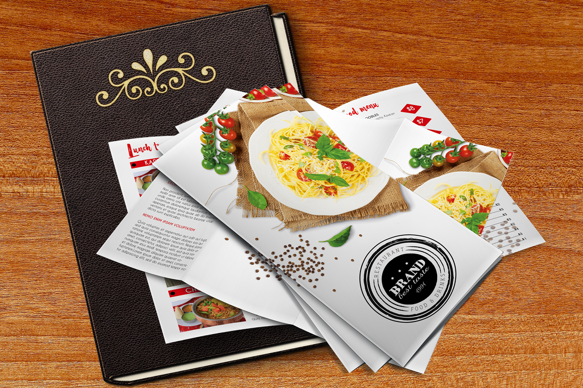 Download Free Brochure Menu For Promoting Restaurants Graphic By Pakpahanmarg for Cricut Explore, Silhouette and other cutting machines.