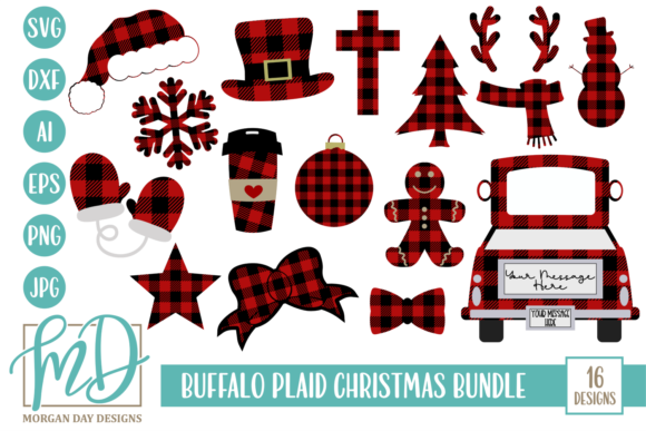 Print on Demand: Buffalo Plaid Christmas Bundle Graphic Crafts By Morgan Day Designs