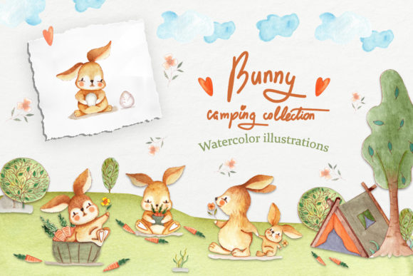 Print on Demand: Bunny Camping Collection Graphic Illustrations By tanatadesign