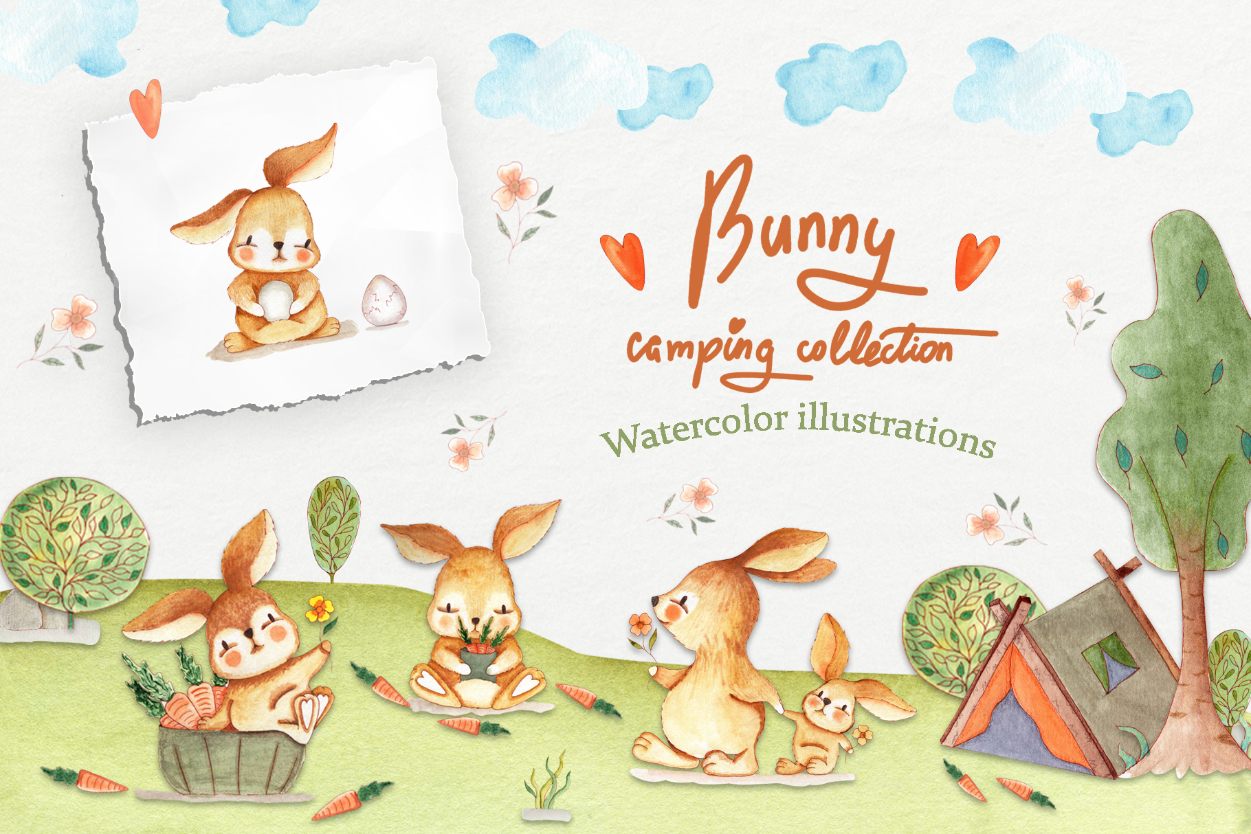 Download Free Bunny Camping Collection Graphic By Tanatadesign Creative Fabrica for Cricut Explore, Silhouette and other cutting machines.