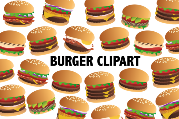 Print on Demand: Burger Clipart Gráfico Ilustraciones Por Mine Eyes Design