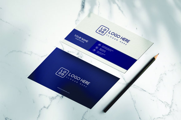 Download Free Business Card Template Blue Graphic By Riskysalvis Creative for Cricut Explore, Silhouette and other cutting machines.