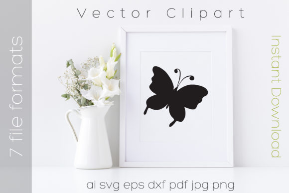 Print on Demand: Butterfly Black Clipart Graphic Illustrations By iBearToo
