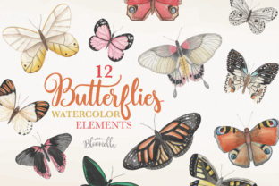 Butterfly Watercolor 12 Clipart Graphic By Bloomella