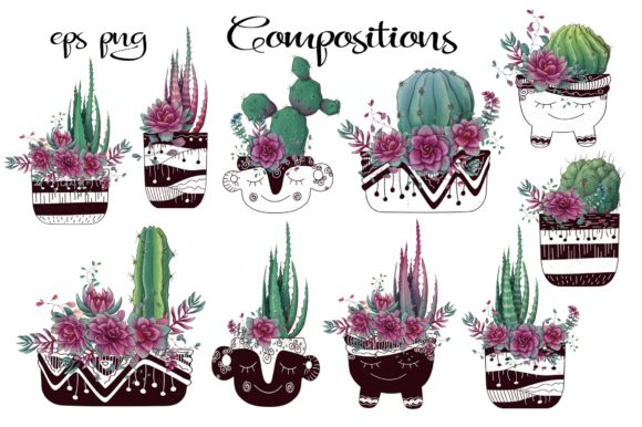 Cacti & Succulents in Purple Graphic By nicjulia Image 2