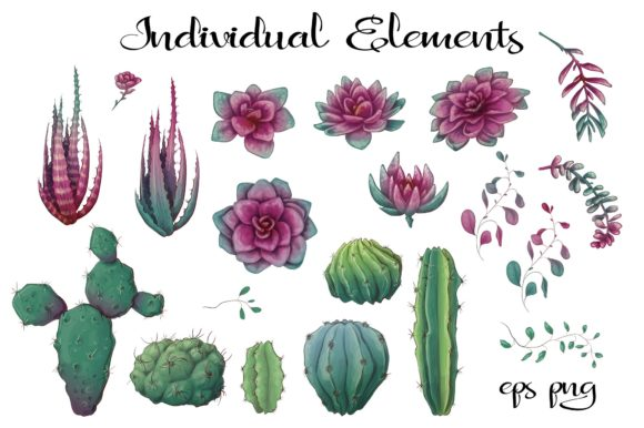Cacti & Succulents in Purple Graphic By nicjulia Image 4