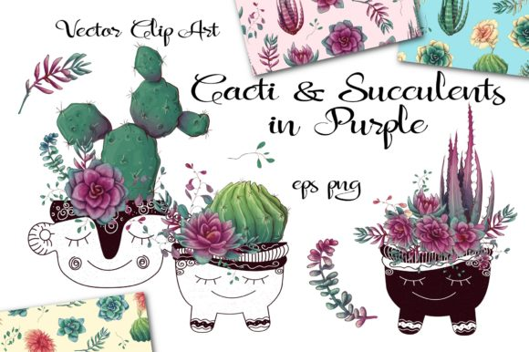 Download Free Cacti Succulents In Purple Graphic By Nicjulia Creative Fabrica for Cricut Explore, Silhouette and other cutting machines.