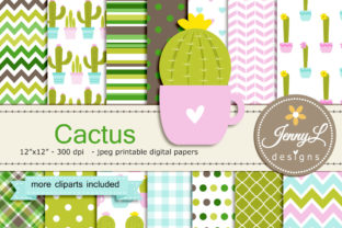 Cactus Digital Papers and Clipart Graphic By jennyL_designs