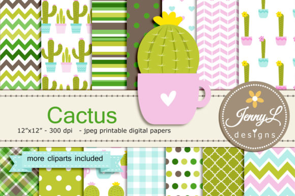 Cactus Digital Papers and Clipart Graphic Backgrounds By jennyL_designs