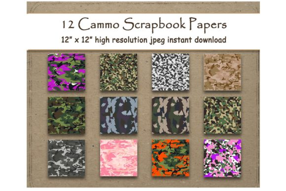 Print on Demand: Camouflage Digital Paper Background Graphic Backgrounds By DigitalPrintableMe