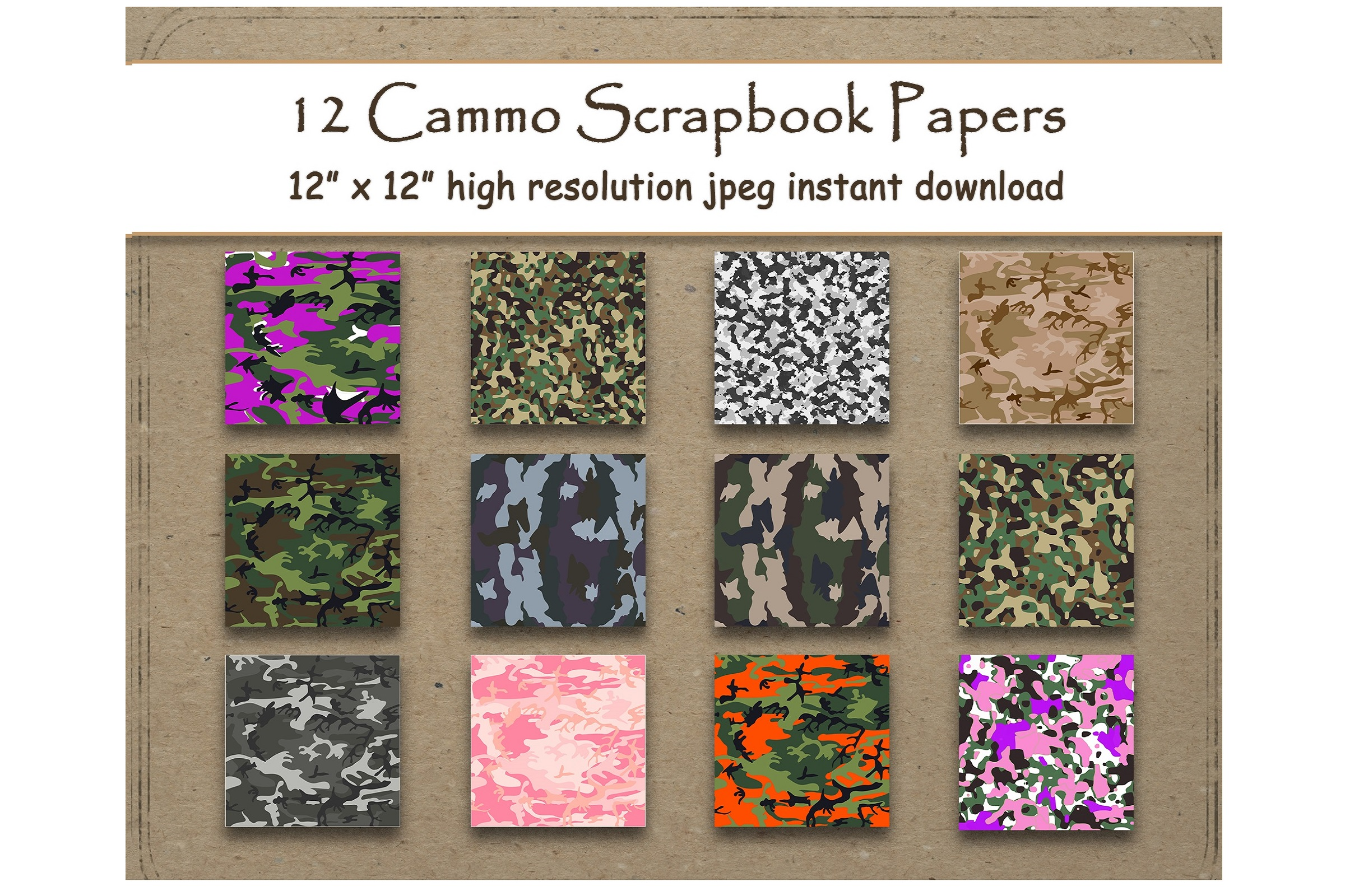 Download Free Camouflage Digital Paper Background Graphic By for Cricut Explore, Silhouette and other cutting machines.