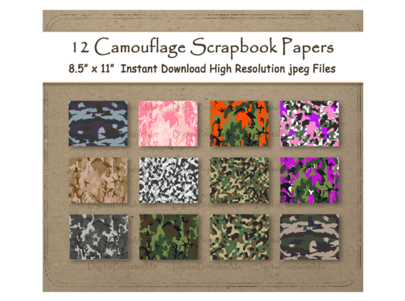 Print on Demand: Camouflage Scrapbook Paper Background Graphic Backgrounds By DigitalPrintableMe