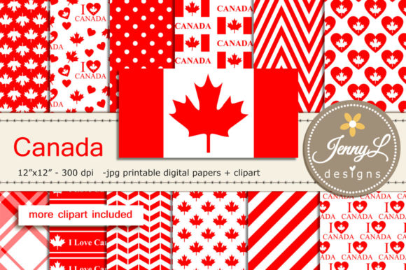 Canada Digital Papers and Clipart Graphic Backgrounds By jennyL_designs
