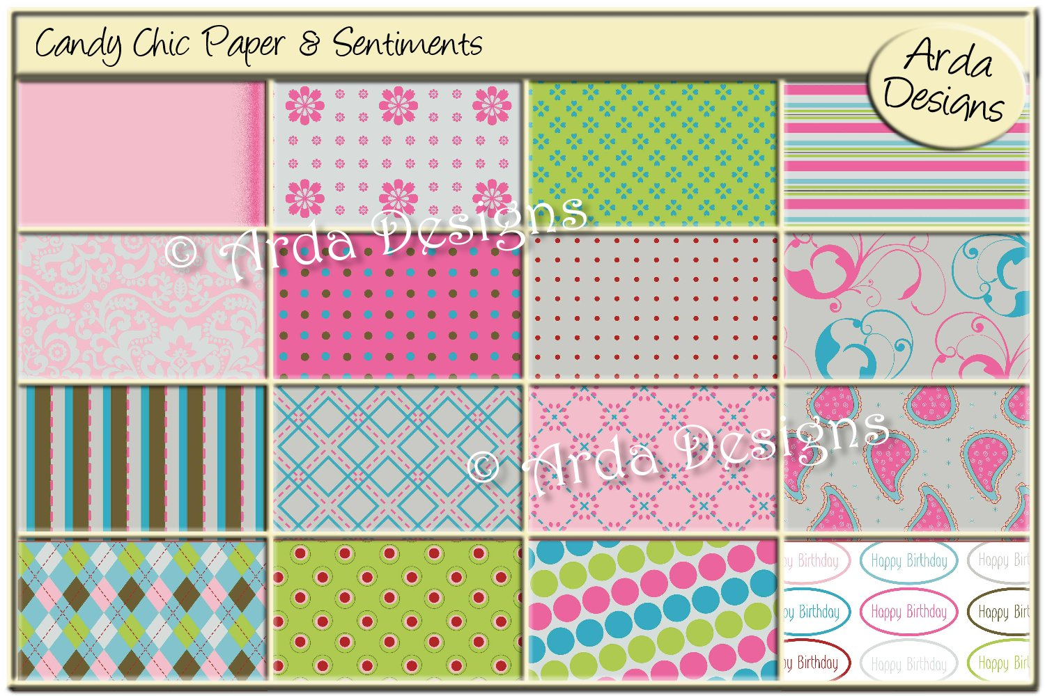 Download Free Candy Chic Papers Sentiments Graphic By Arda Designs for Cricut Explore, Silhouette and other cutting machines.