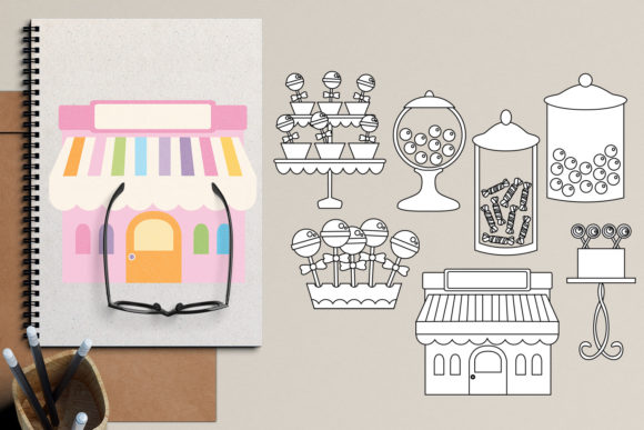 Download Free Candy Shop Graphic By Revidevi Creative Fabrica for Cricut Explore, Silhouette and other cutting machines.