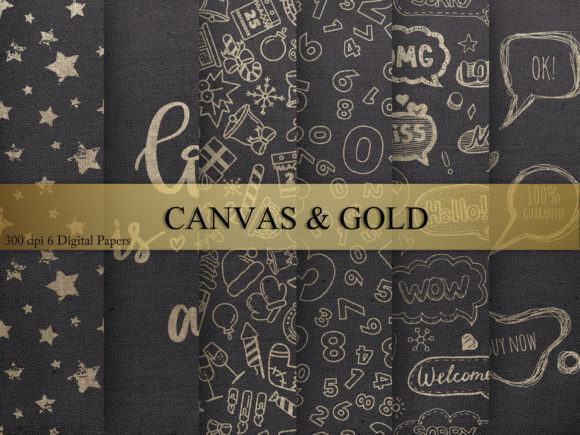 Download Free Canvas Gold Digital Paper Graphic By Creative Paper Creative for Cricut Explore, Silhouette and other cutting machines.