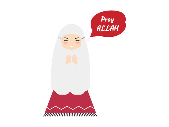 Download Free Cartoon Girl Kids Praying Allah Graphic By Griyolabs Creative for Cricut Explore, Silhouette and other cutting machines.