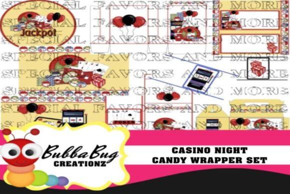 Casino Night  Candy Wrapper Set Graphic Crafts By BUBBABUG