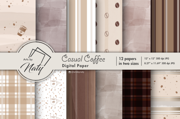 Print on Demand: Casual Coffee Digital Paper Graphic Illustrations By artsbynaty