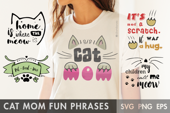 Print on Demand: Cat Mom Fun Phrases Graphic Illustrations By artsbynaty