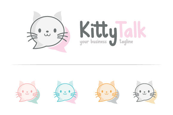 Cat Talks Logo Graphic Logos By TS d'sign - Image 1