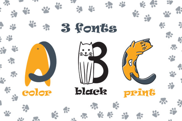 Print on Demand: Cats Color Fonts Font By Peliken - Image 3