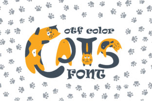 Print on Demand: Cats Color Fonts Font By Peliken