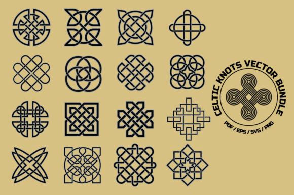 Download Free Celtic Knots Symbols Vector Bundle Graphic By Yumiguelgfxartshop Creative Fabrica for Cricut Explore, Silhouette and other cutting machines.