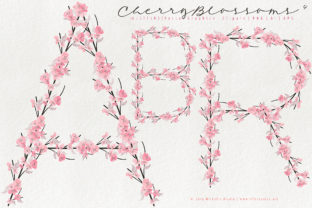 Cherry Blossoms 04 Pink & Peach LETTERS Graphic By Michelle Alzola