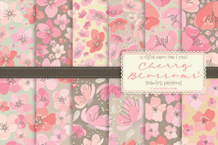 Cherry Blossoms 04 Pink & Peach Patterns Graphic By Michelle Alzola