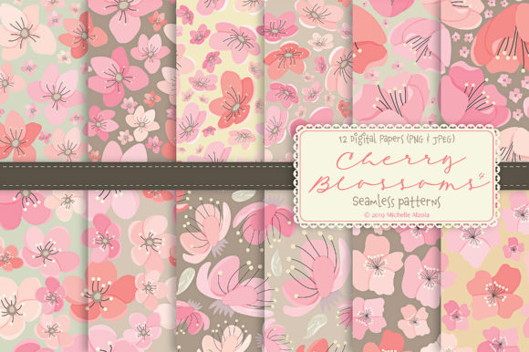 Print on Demand: Cherry Blossoms 04 Pink & Peach Patterns Graphic Patterns By Michelle Alzola