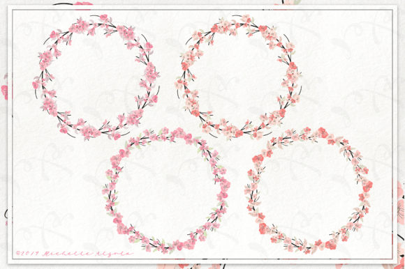 Cherry Blossoms 04 Pink and Peach Wreath