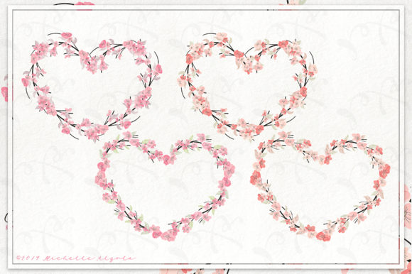 Print on Demand: Cherry Blossoms 04 Pink and Peach Wreath Graphic Illustrations By Michelle Alzola - Image 3