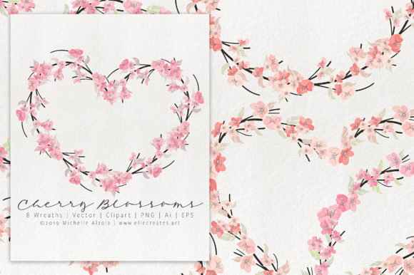 Print on Demand: Cherry Blossoms 04 Pink and Peach Wreath Graphic Illustrations By Michelle Alzola