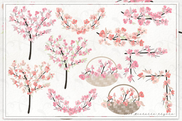 Print on Demand: Cherry Blossoms 04 Pink and Peach Graphic Illustrations By Michelle Alzola - Image 2