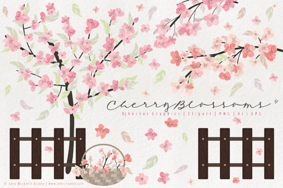 Print on Demand: Cherry Blossoms 04 Pink and Peach Graphic Illustrations By Michelle Alzola - Image 1