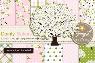 Cherry Blossoms Digital Papers Clipart Graphic By jennyL_designs