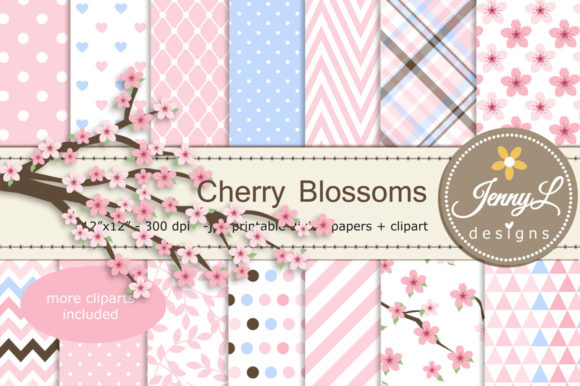 Cherry Blossoms Digital Papers Clipart Graphic Patterns By jennyL_designs