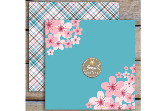 Download Free Cherry Blossoms Sakura Digital Papers Graphic By Jennyl Designs for Cricut Explore, Silhouette and other cutting machines.