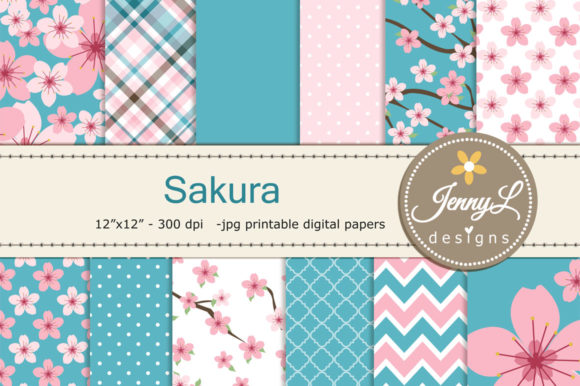 Cherry Blossoms Sakura Digital Papers Graphic Patterns By jennyL_designs