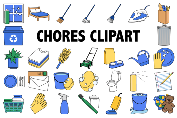 Print on Demand: Chores Clipart Graphic Illustrations By Mine Eyes Design
