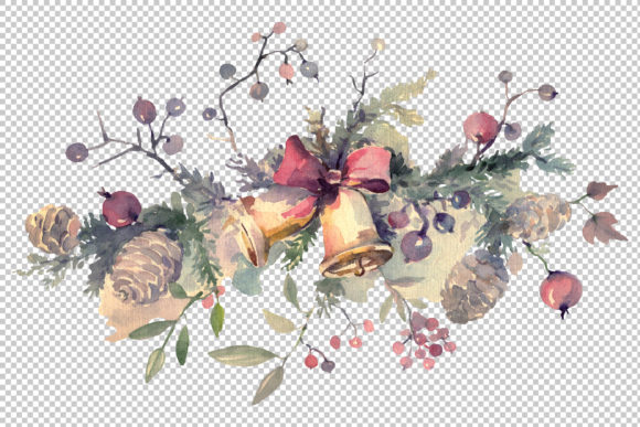 Print on Demand: Christmas Bouquet Winter Joy Watercolor Graphic Illustrations By MyStocks - Image 2
