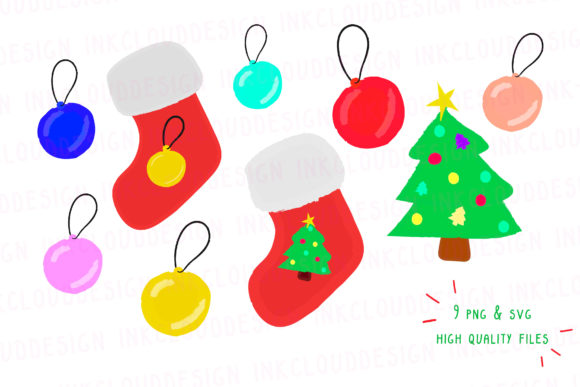 Download Free Christmas Clip Art Holidays Tree Graphic By Inkclouddesign for Cricut Explore, Silhouette and other cutting machines.