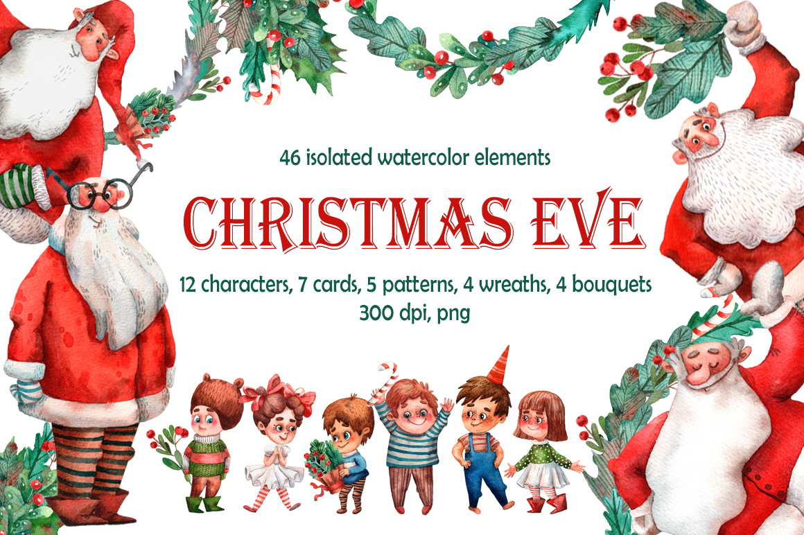Download Free Christmas Eve Watercolor Clip Art Set Graphic By Mashamashastu for Cricut Explore, Silhouette and other cutting machines.