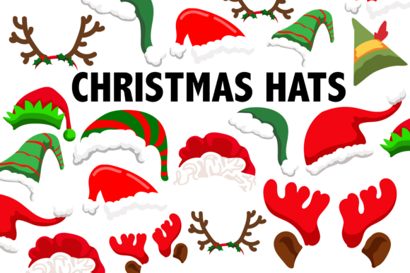 Print on Demand: Christmas Hat Clipart Graphic Illustrations By Mine Eyes Design