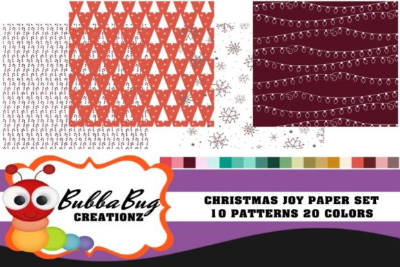 Christmas Joy Paper Set Graphic Backgrounds By BUBBABUG