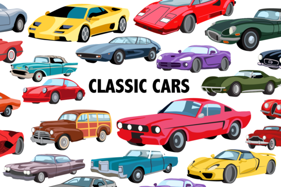Print on Demand: Classic Car Clipart Graphic Illustrations By Mine Eyes Design