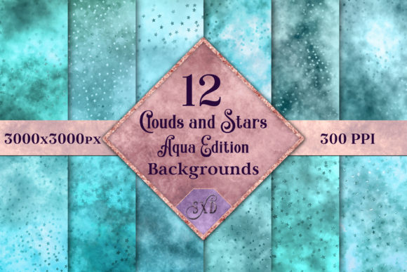 Print on Demand: Clouds and Stars - Aqua Backgrounds Graphic Backgrounds By SapphireXDesigns