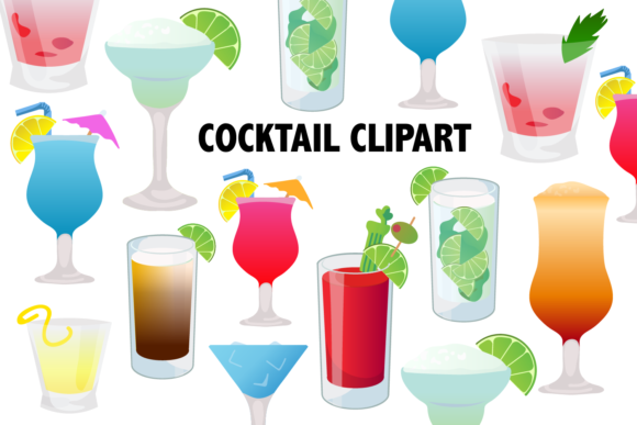 Print on Demand: Cocktail Clipart Graphic Illustrations By Mine Eyes Design